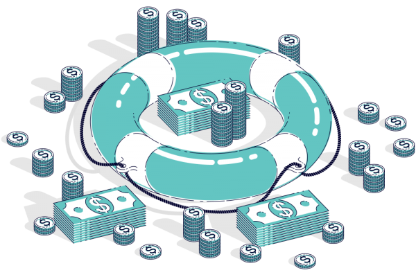 Digital image of life preserver with coins and dollar bills sitting inside and outside the ring